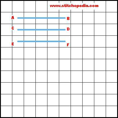 Padded Rice Stitch - Diagram 1